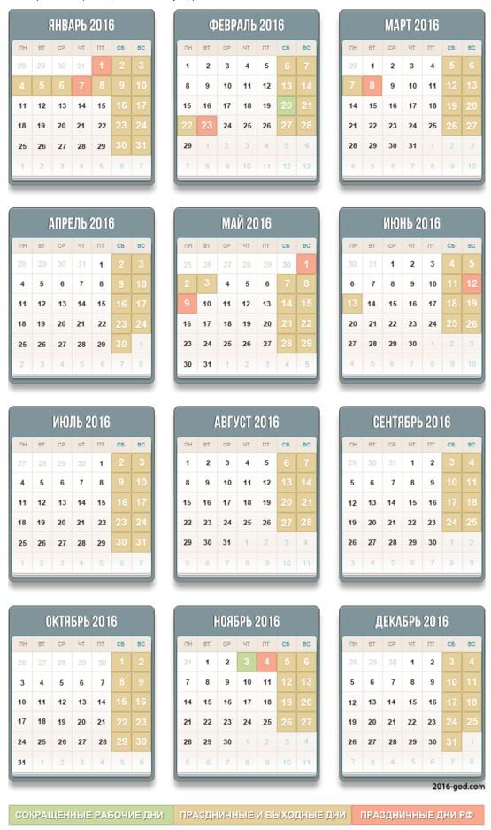 Постановлением правительства установлены рабочие и выходные дни  в 2016 году